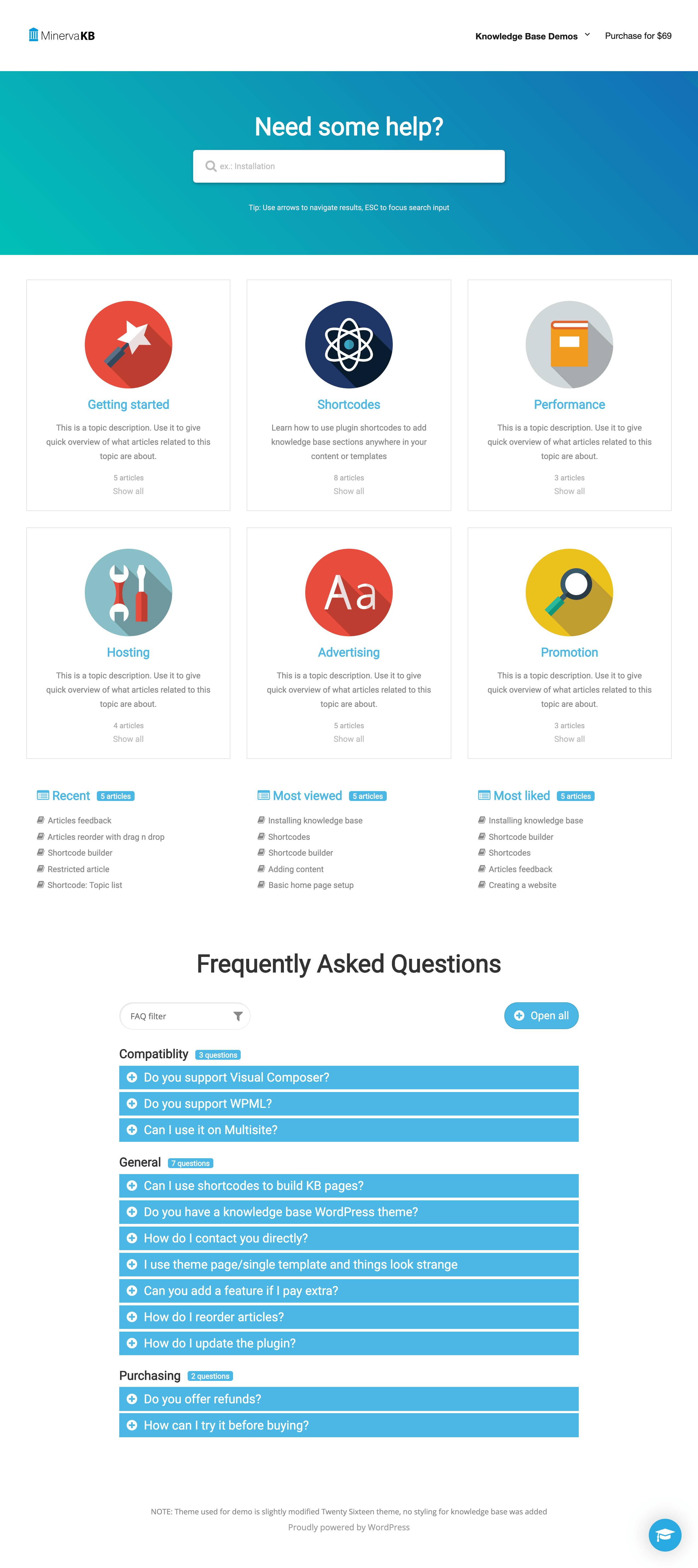 Modern Knowledge Base design with FAQ