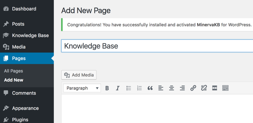 Knowledge base home page creation