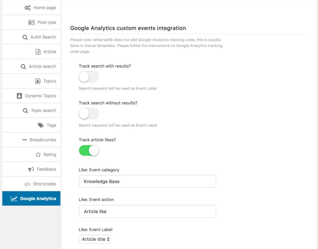Knowledge Base Google Analytics integration
