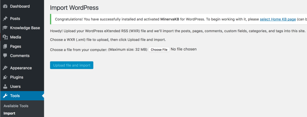 Wordpress import dialog