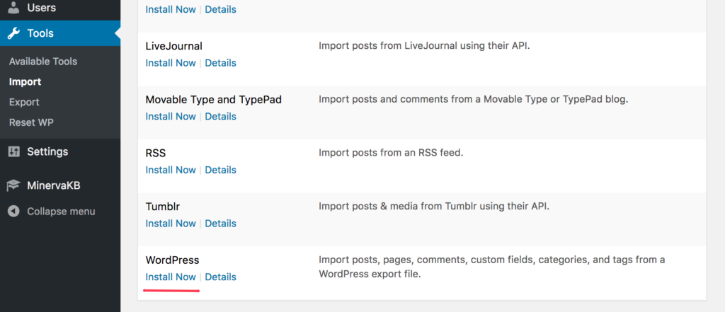 Wordpress import installation