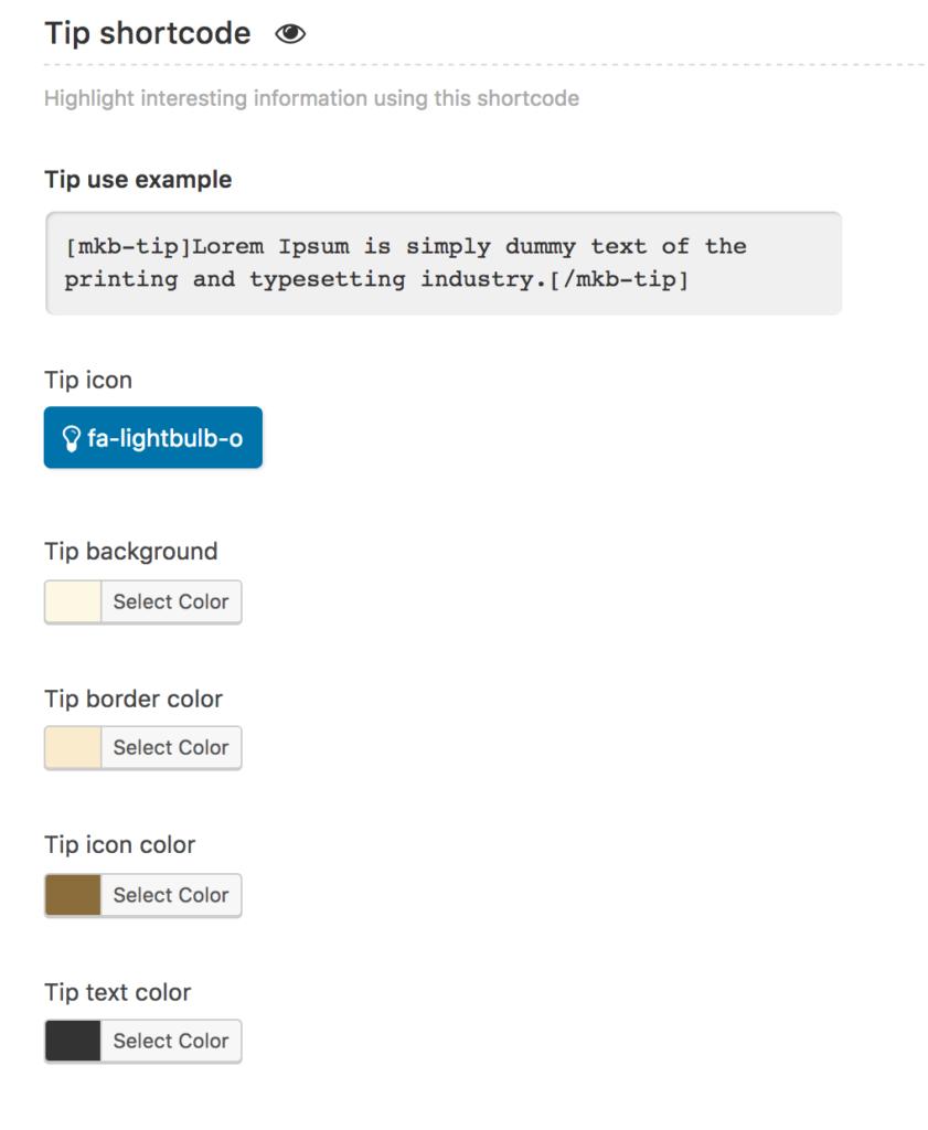 Tip shortcode