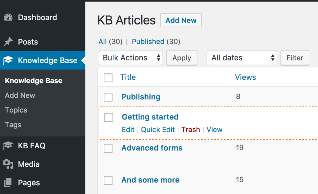 Reorder knowledge base articles with drag n drop
