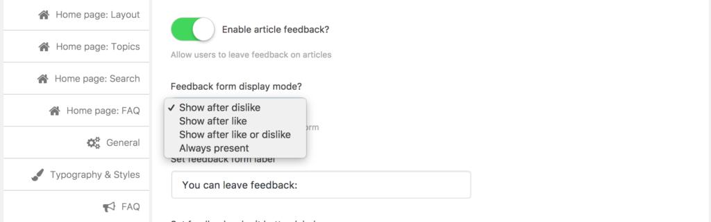 Feedback display modes