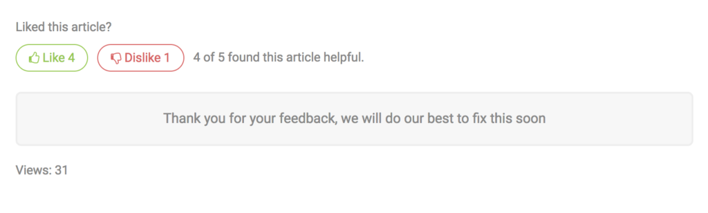 Feedback success message