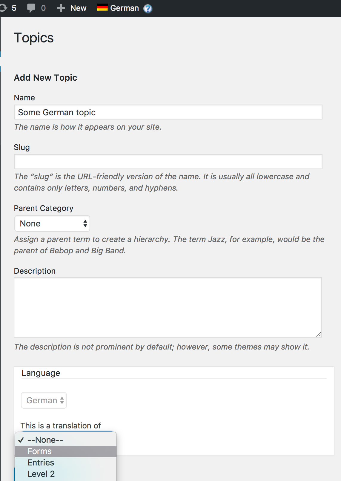 WPML support for topics