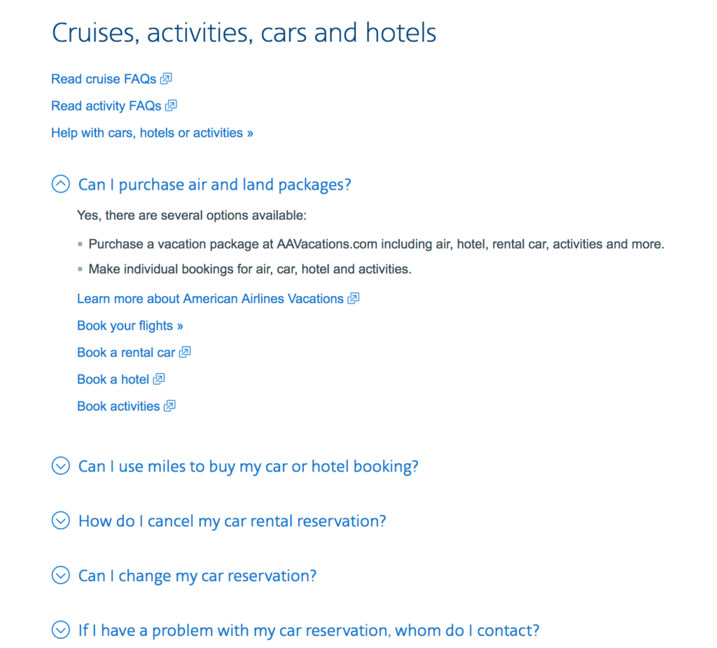 FAQ Examples - American Airlines FAQ
