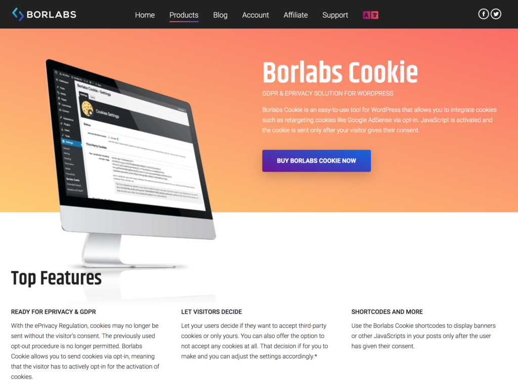 Borlabs Cookie webpage