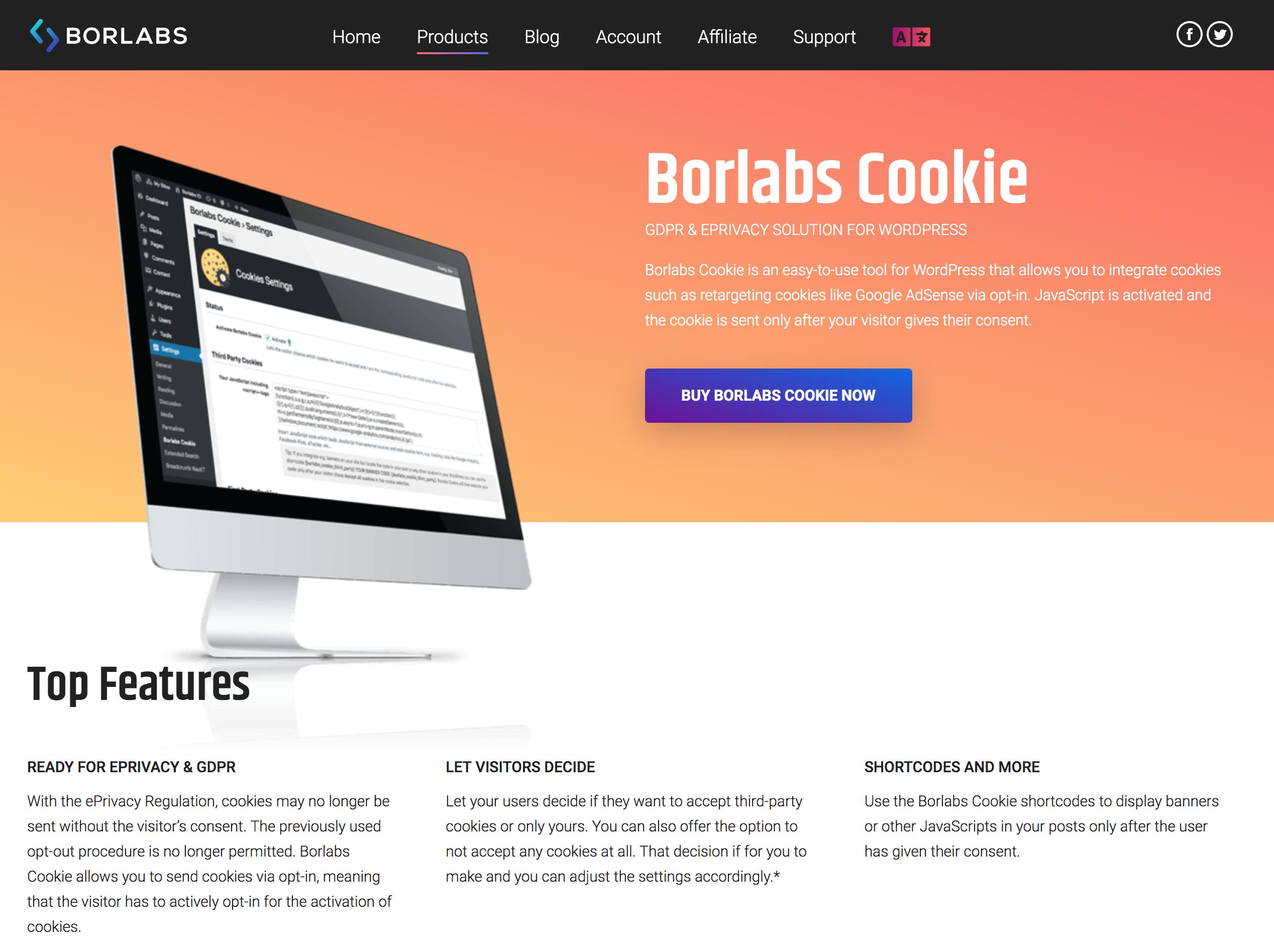 Borlabs Cookie webpage