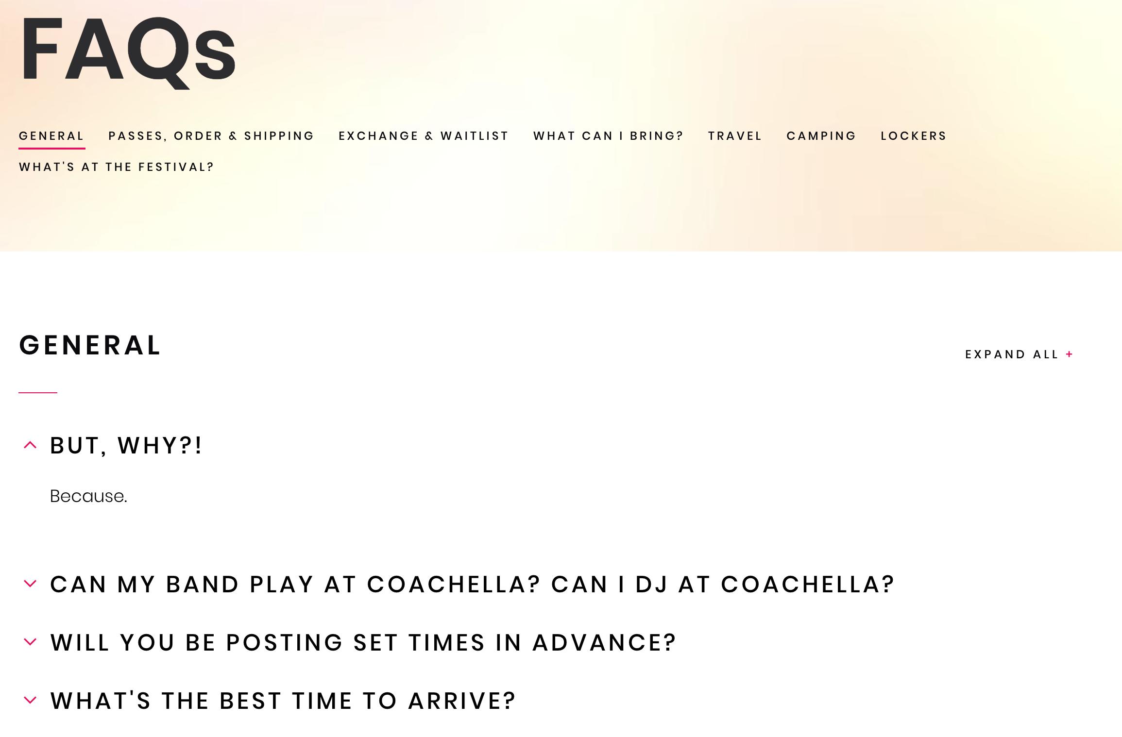 FAQ examples - Coachella