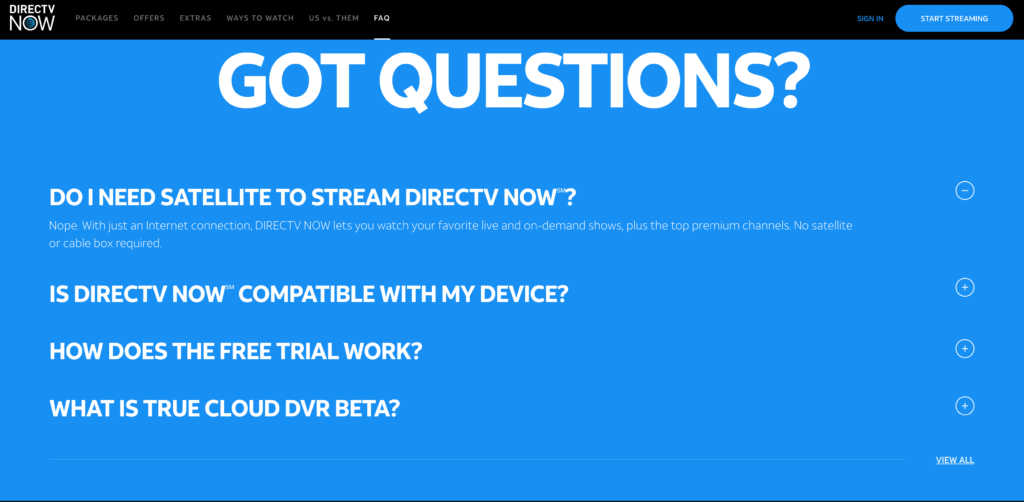 FAQ Examples - DirectTV Now FAQ