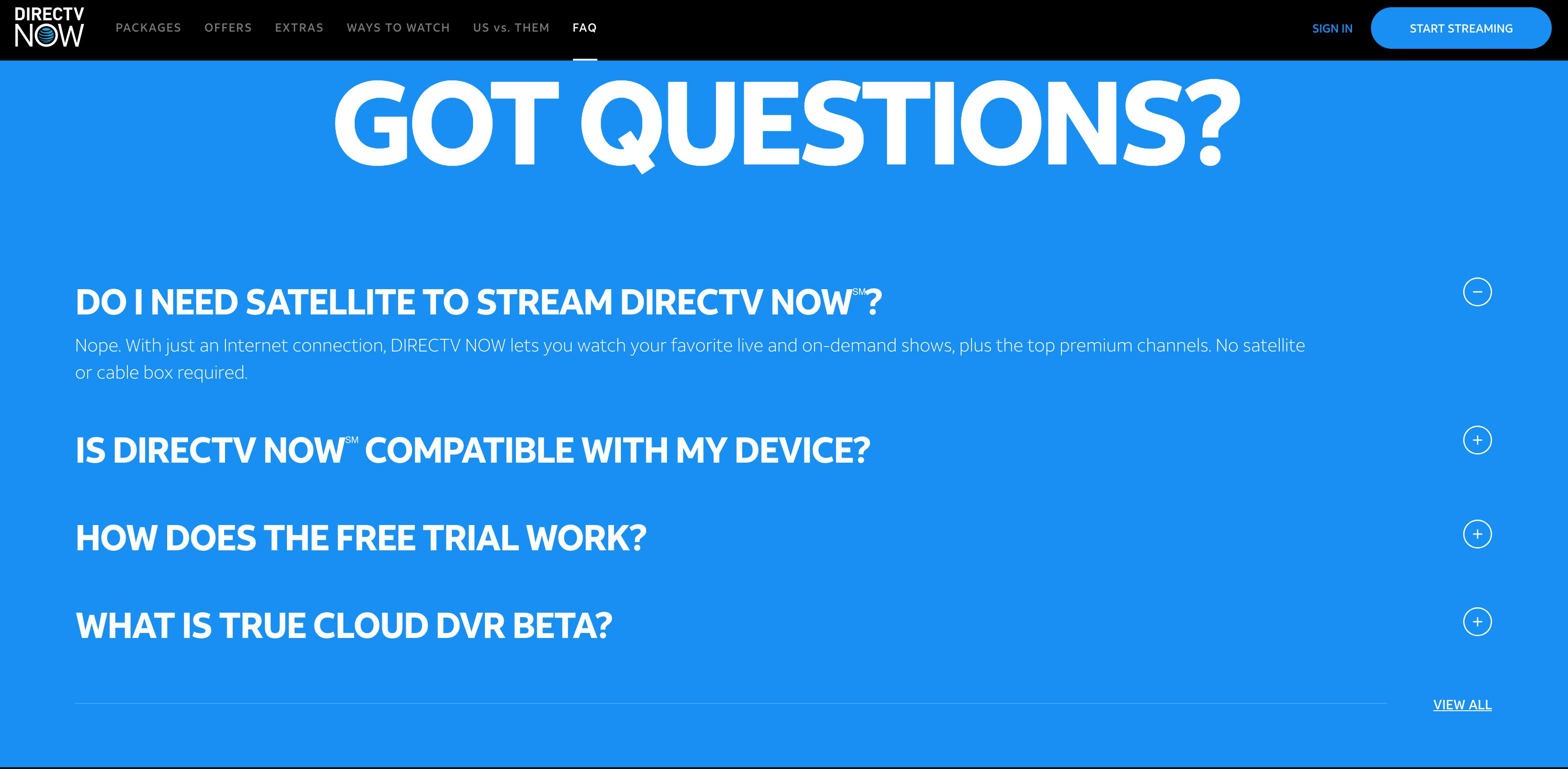 FAQ Examples - DirectTV Now FAQ