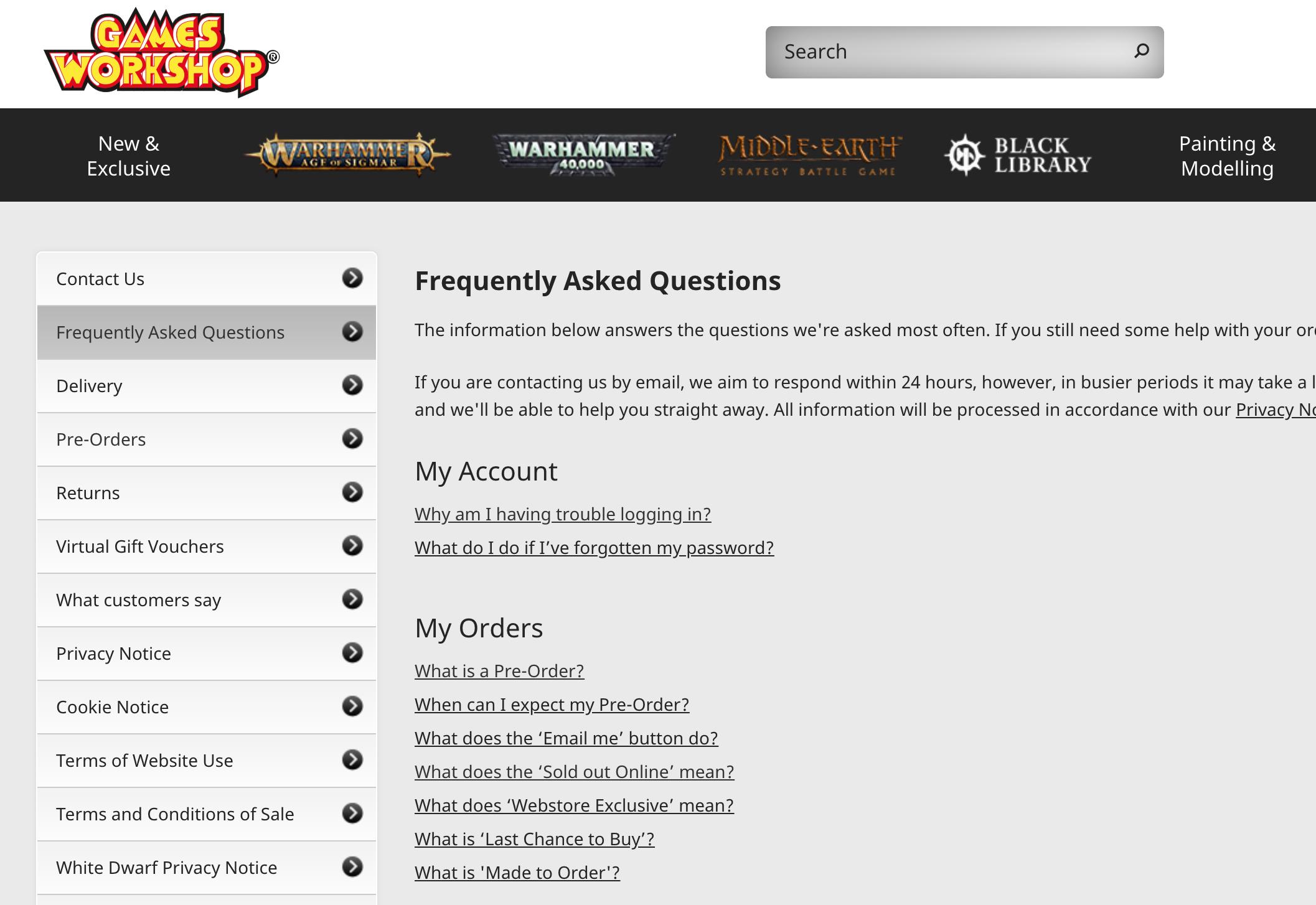 FAQ examples - Games Workshop FAQ