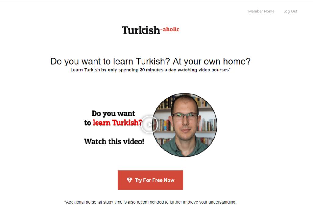 Turkishaholic landing page
