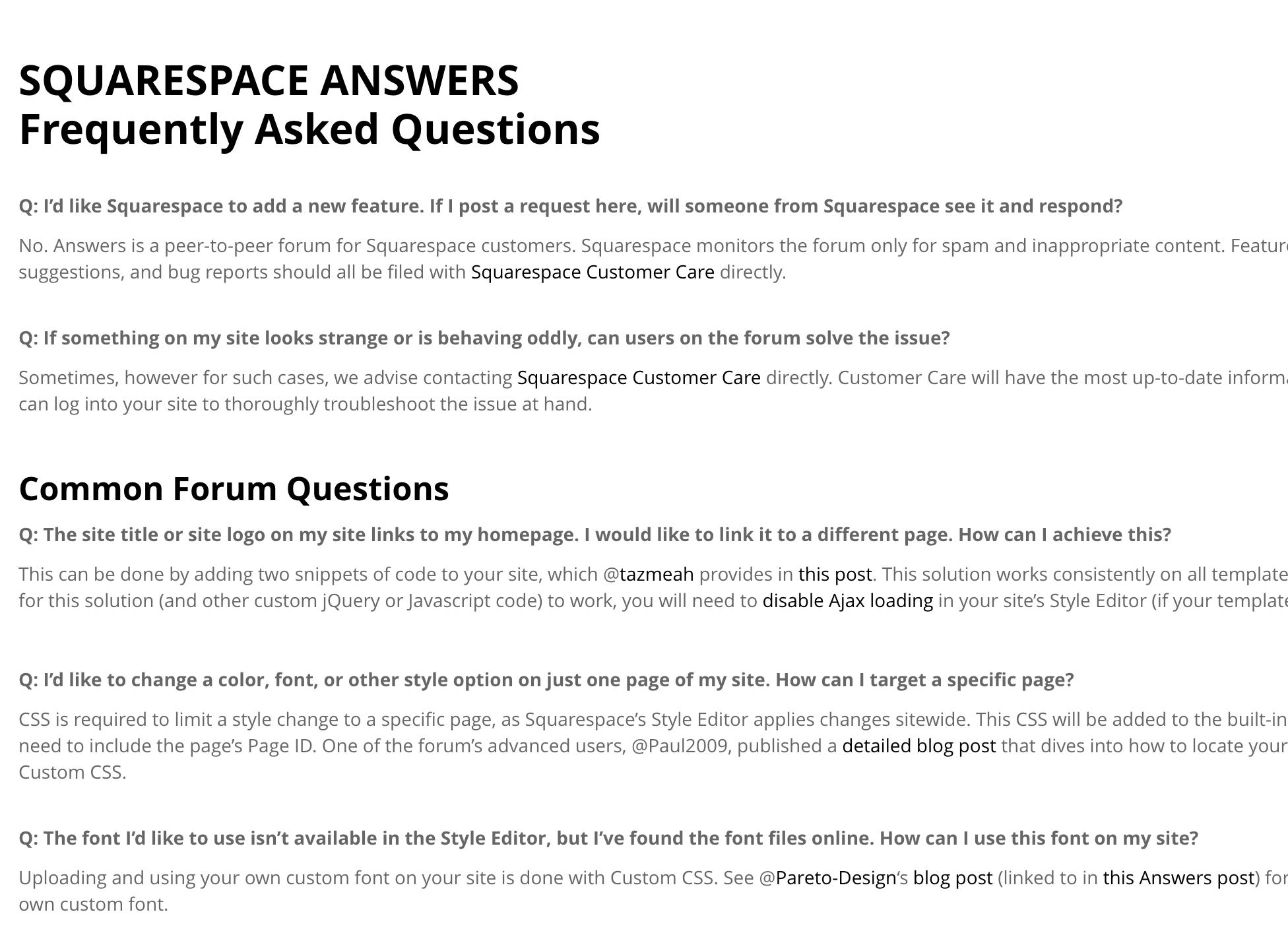 FAQ examples - Squarespace