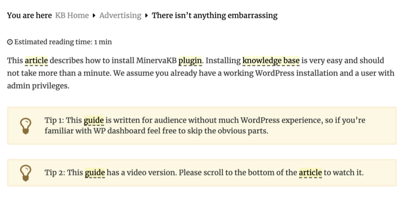 Terms highlighted in the knowledgebase articles