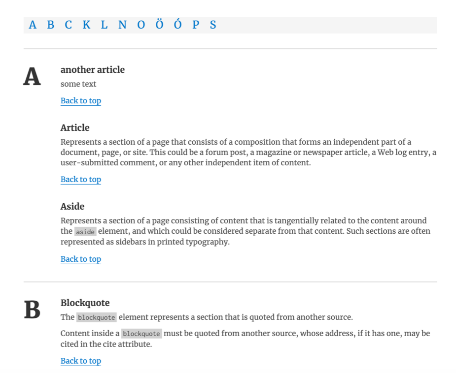 Glossary list displayed on the client-side
