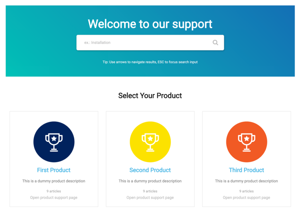 Multiproduct Knowledge Base demo