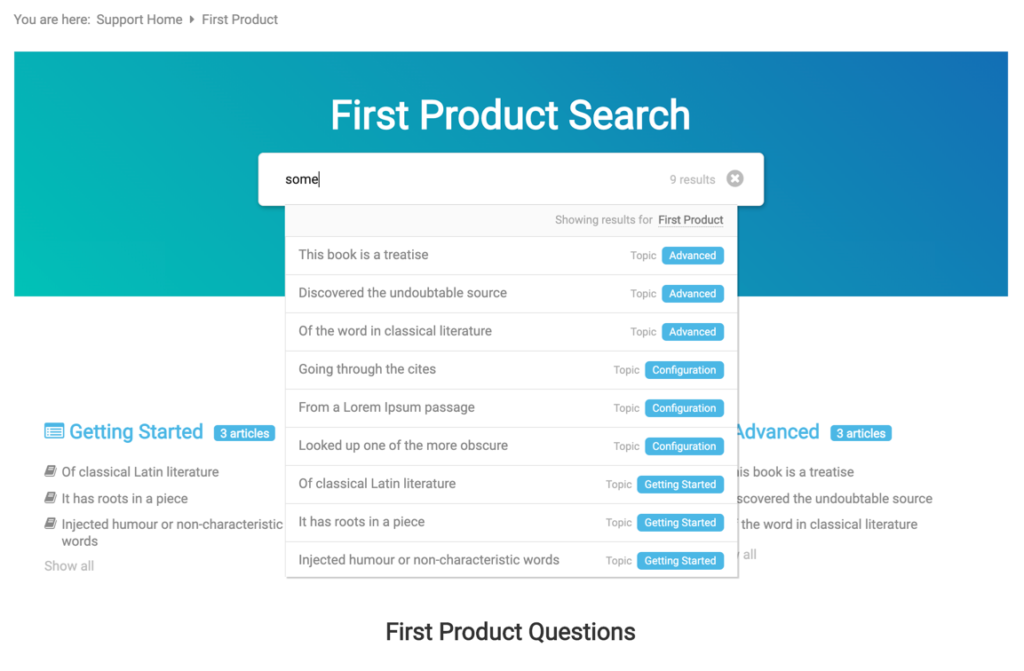 Scoped KB search inside the multiproduct knowledge base product pages