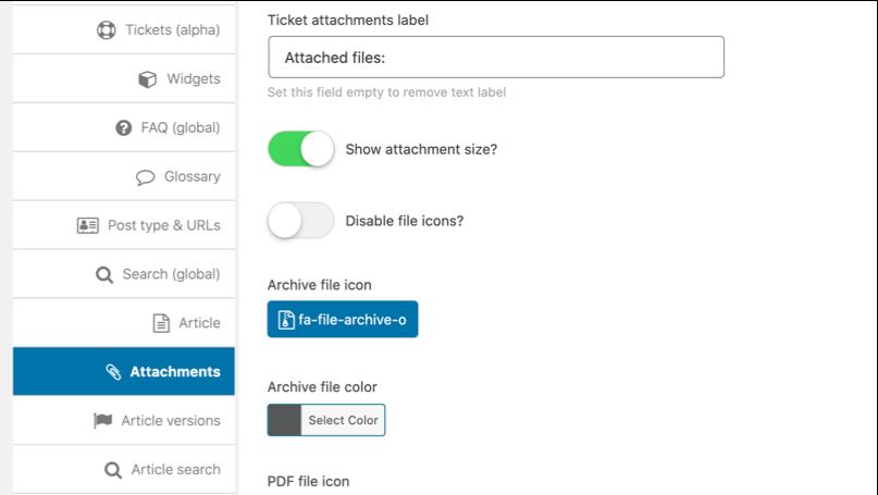 Show attachment size option