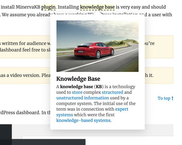 Glossary tooltip in article