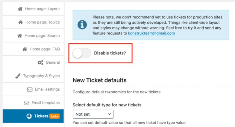 Disable tickets switch